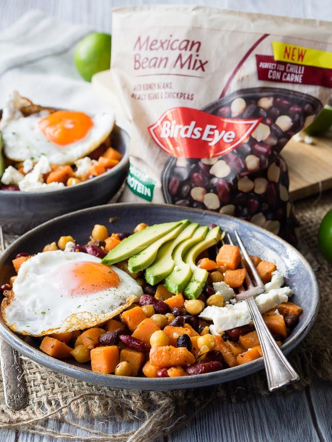 Healthy Breakfast Bowl With Beans And Sweet Potatoes Gf