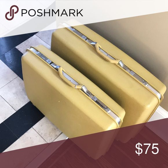 Vintage yellow Samsonite Suitcase Yellow Samsonite luggage. Extra Large and Large Case. Can be sold together or sold separately. Bags Travel Bags