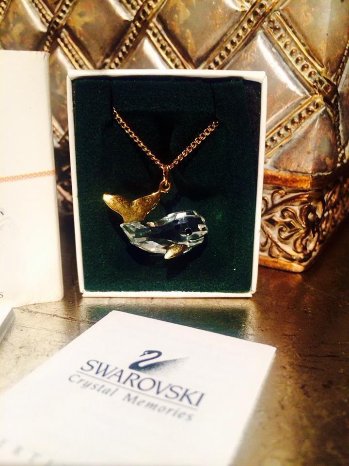 Vintage Designer Swarovski Goldtone Crystal Whale Pendant Necklace Austria Cute #Swarovski #Pendant