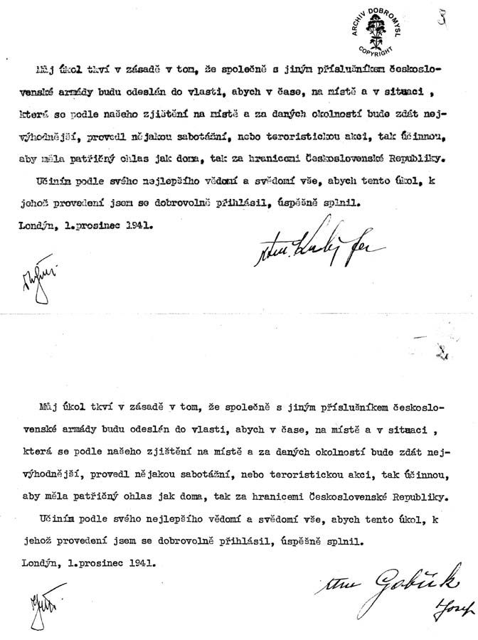 Written statement of Jan Kubis and Jozef Gabčík signed before their departure to Operation Anthropoid.