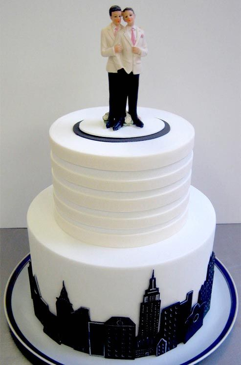 skyline wedding cake a painted fondant skyline and white on white stripes 20188