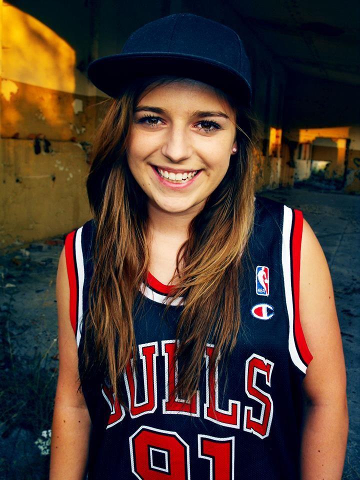 happy girl smile fullcap bulls chicago bulls basketball jersey artistic photo 91 roodman