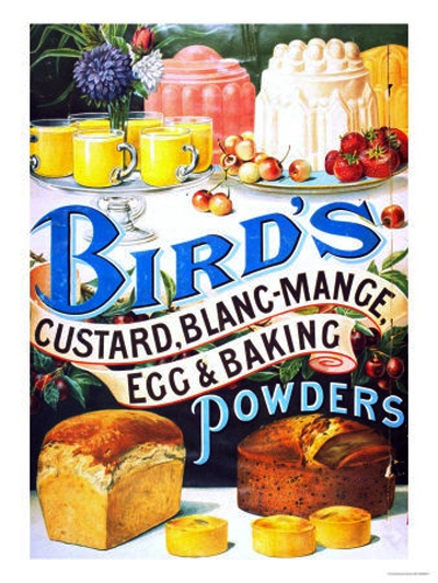 'Bird's Custard' was first formulated and first cooked by Alfred Bird in 1837, because his wife was allergic to eggs, the key ingredient used to thicken traditional custard.After he discovered his eggless custard was popular, Bird formed Alfred Bird and Sons Ltd. in Birmingham. By 1843, the company was also making the newly invented baking powder and, by 1844, was promoting custard powder nationally. By 1895, the company was producing Blancmange powder, jelly powder, and egg substitute.