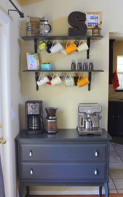 coffee bar...want this!: Dining Room, S'More Bar, S'Mores Bar, Cute Ideas, Kitchens Counter, Coffee Bars, Kitchen Counter, Teas Bar, Coffee Stations