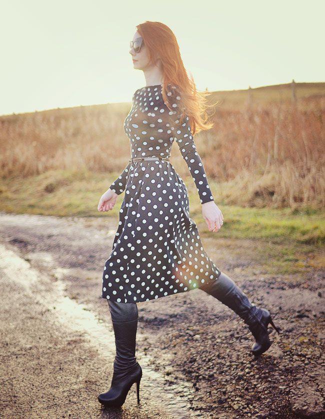 polka dot midi dress