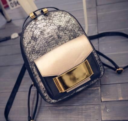Rdywbu Gold Black Silver Backpack Shiny Glitter Woman Snake Patterns Schoolbags Bling Bling Silver Backpack Luxury Design H103