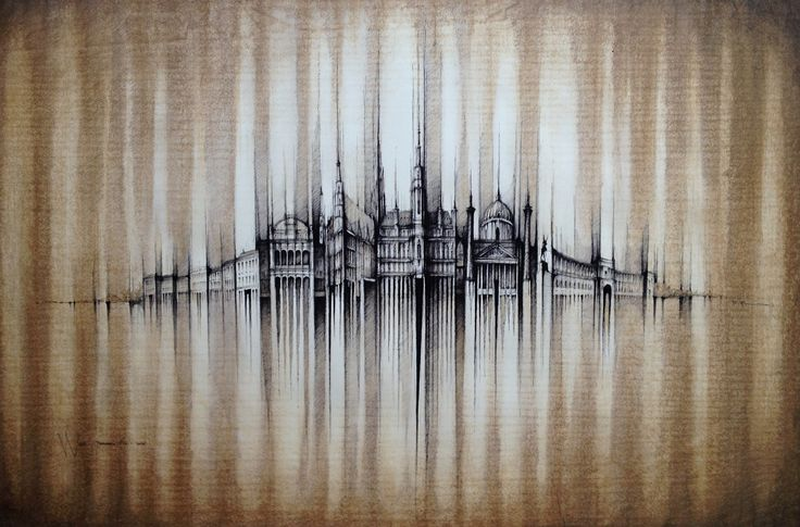 VIENNA - PANORAMA Drawing on paper, 100cmx70cm, ink, coffee  © Pavel Filgas 2016