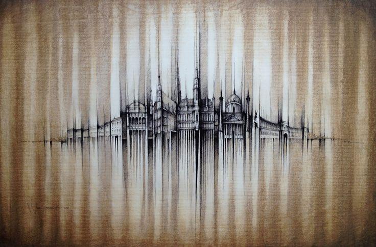 VIENNA PANORAMA   Drawing on paper, coffee colour, 100x70cm  © Pavel Filgas 2016