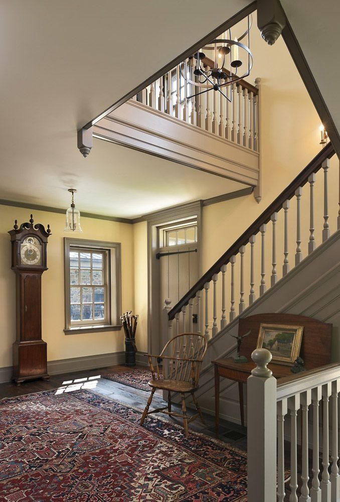 50 Amazing Farmhouse Stairs Idea Can Be Favorite Selection Homiku Com Colonial Farmhouse Farmhouse Stairs Colonial House