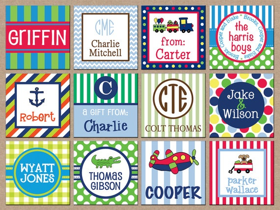 24 square personalized boy enclosure cards or gift stickers choose one design