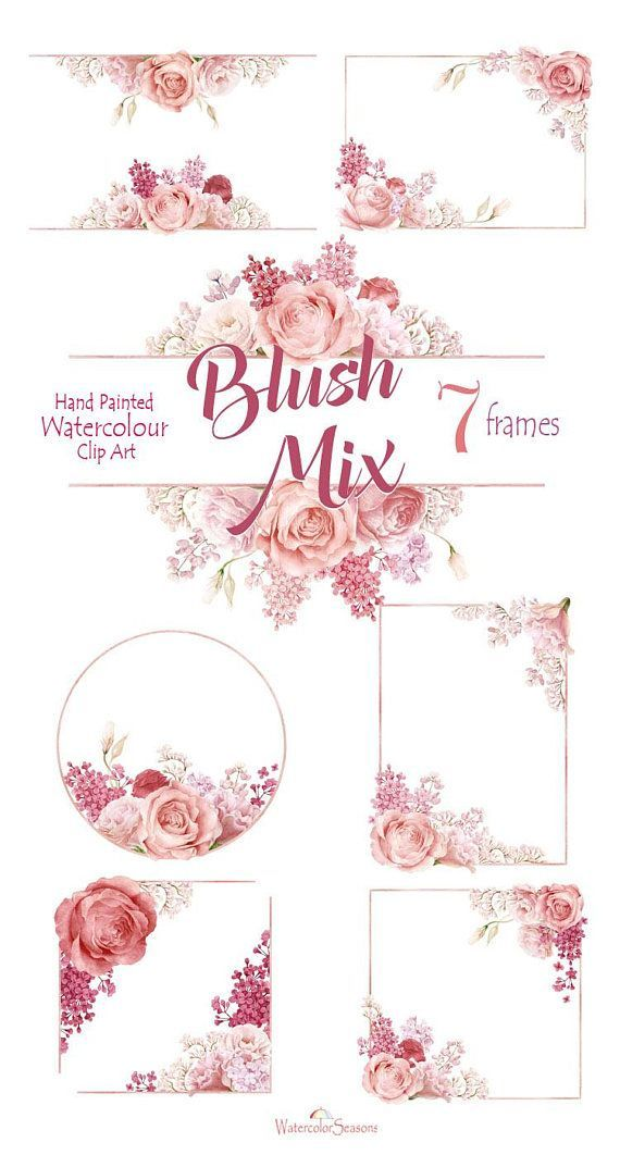 Watercolor Clipart Hand Painted Flower Frames Blush Roses