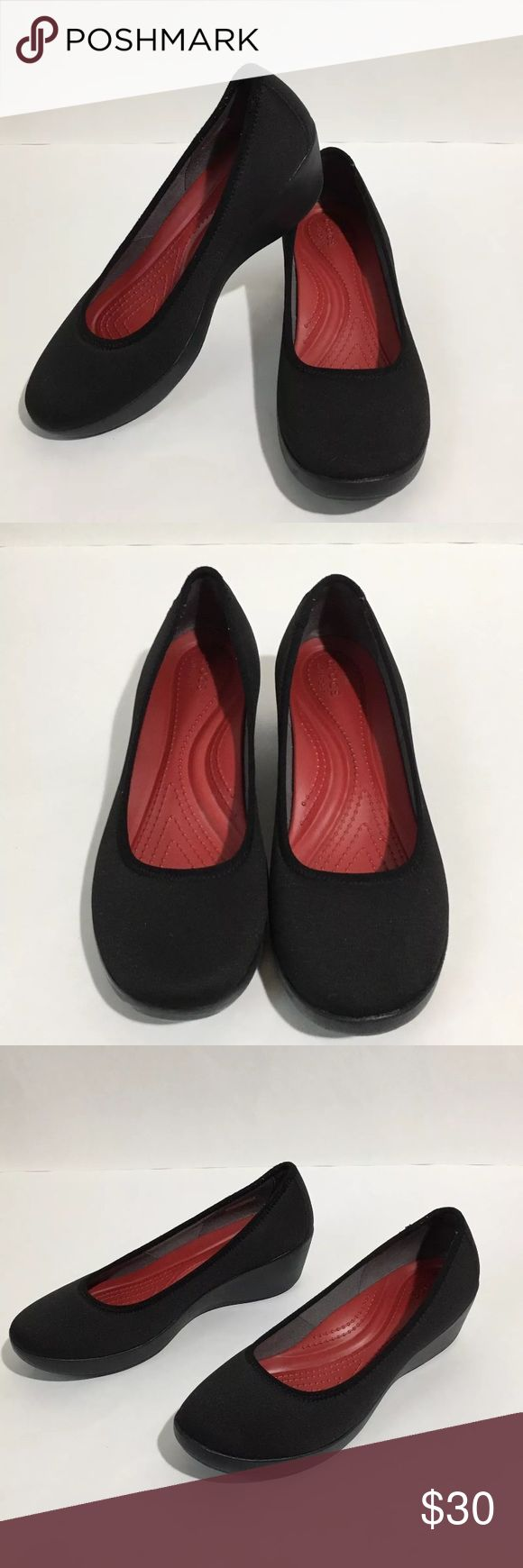 Crocs Busy Day Black Ballet Wedges Dual Comfort 9 Women's Crocs Busy Day Dual Comfort black ballet wedges. Size 9 Retailing for $59.99 Excellent condition no flaws CROCS Shoes Flats & Loafers