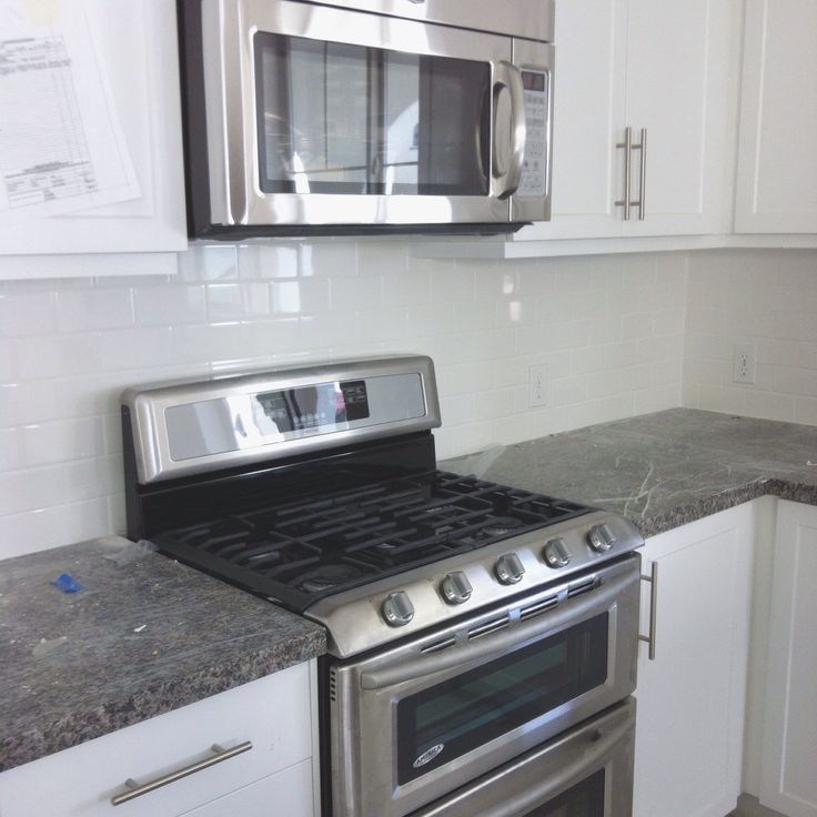 White Subway Tile Backsplash And New Caledonia Granite Counter In Our New Home