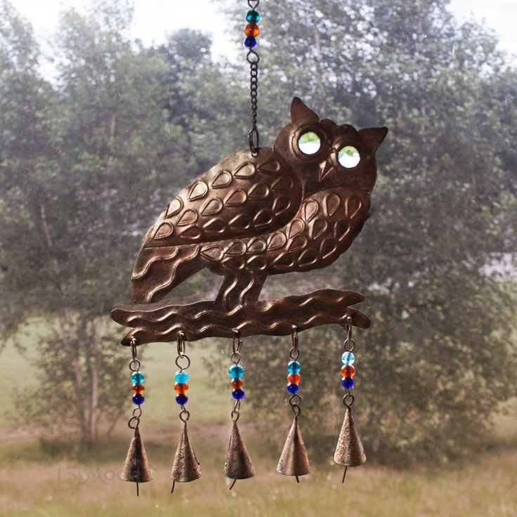 Owl Wind Chime, Beads And Bells