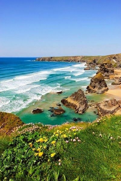Bedruthan Steps - England. (a stretch of coastline located on the north Cornish coast between Padstow and Newquay, in Cornwall, England, United Kingdom)