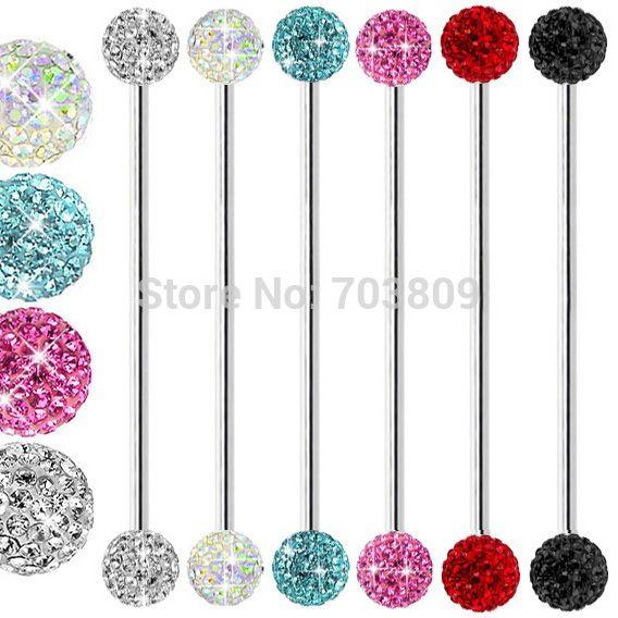 Cz gem 6mm ferido tragus stud faux longue langue anneau industrielle barbell piercing bijoux livraison gratuite