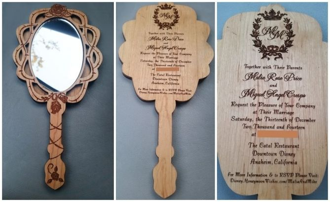 custom beauty and the beast inspired mirror wedding invitations, invitation samples