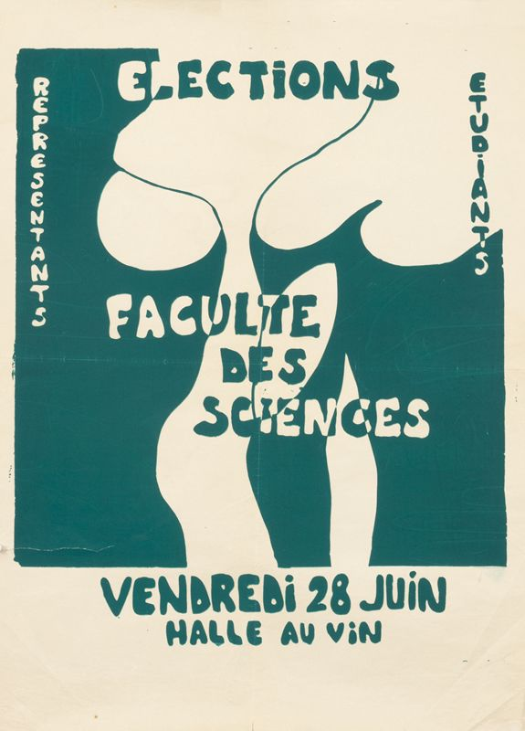 Elections - Faculte des Sciences (green) by Atelier Populaire (1968) | Shop original vintage posters online: www.internationalposter.com