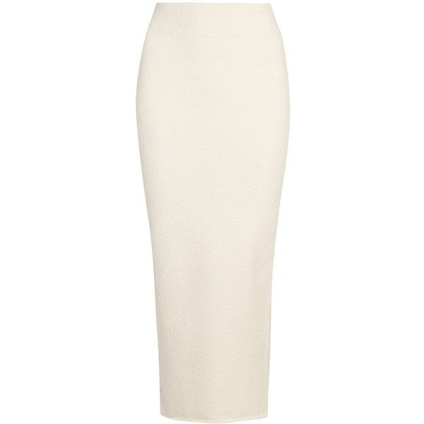 YEEZY SEASON 4 Ecru Bouclé Pencil Skirt - Size L ($635) ❤ liked on Polyvore featuring skirts, bottoms, pencil skirts, white pencil skirt, pull on skirts, white knee length skirt and white skirt