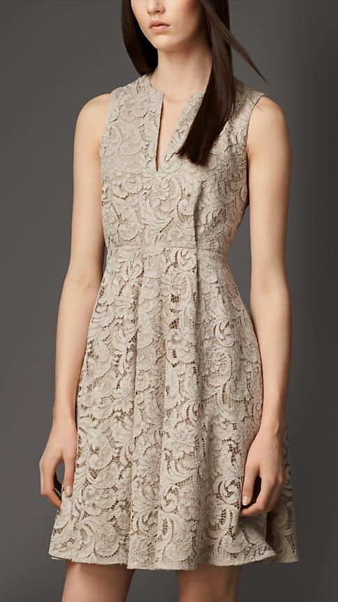 Split Neckline Lace Dress | Burberry- the red dress comes in tan!!