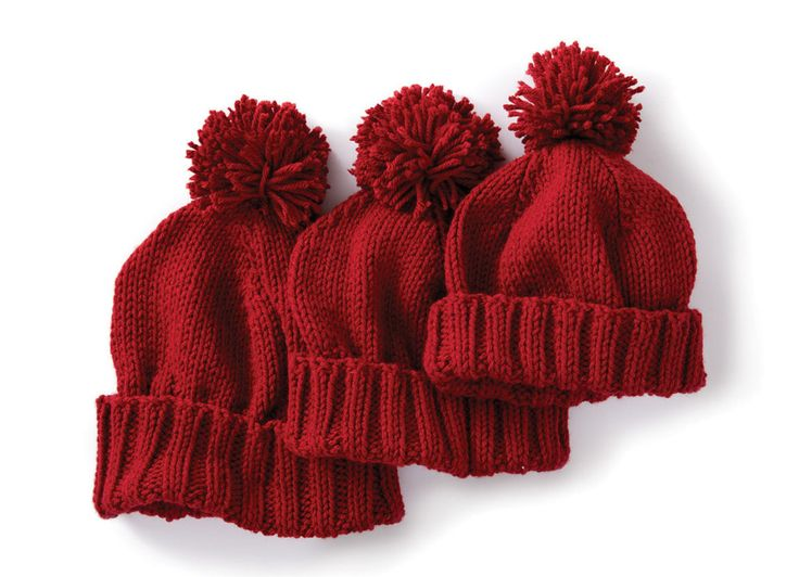 Basic Family Knit Hat In Caron One Pound Downloadable