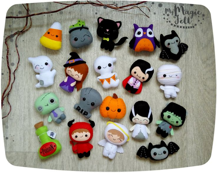Halloween ornaments SET of 15 cute Halloween ornament felt Halloween decor felt toys Halloween decorations party favor Scary Halloween gifts by MyMagicFelt on Etsy