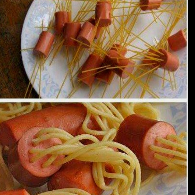 Stick noodles through hot dogs then cook. Kids will live these.