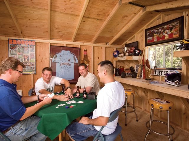 Tuff Shed Premier Ranch Man Cave. Perfect for guys night out and game nights.