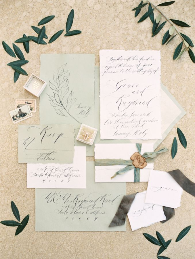 spanish wedding invitations uk%0A Wedding stationery in olive green created by Seniman Calligraphy Photo  Allen Tsai Photography Weddingplanner  u     Stylist Weddings by Silke
