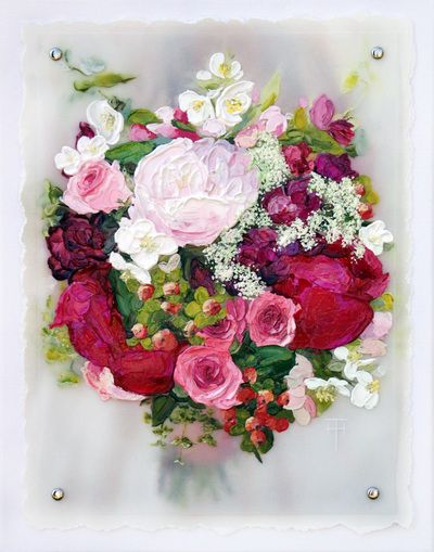 A custom painting of YOUR WEDDING BOUQUET by Terri Heinrichs.  A thoughtful wedding or anniversary gift!