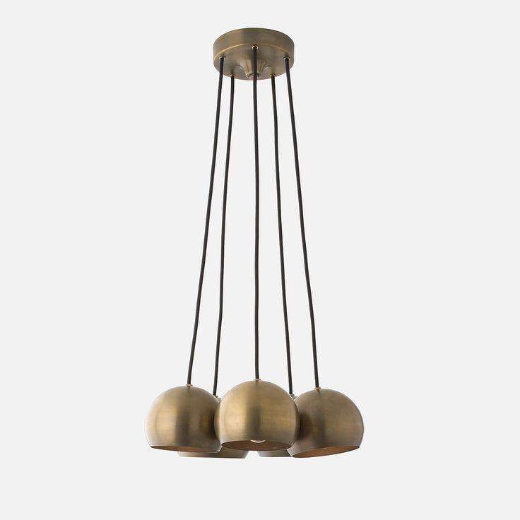 Isaac 5 Light Chandelier - Natural Brass