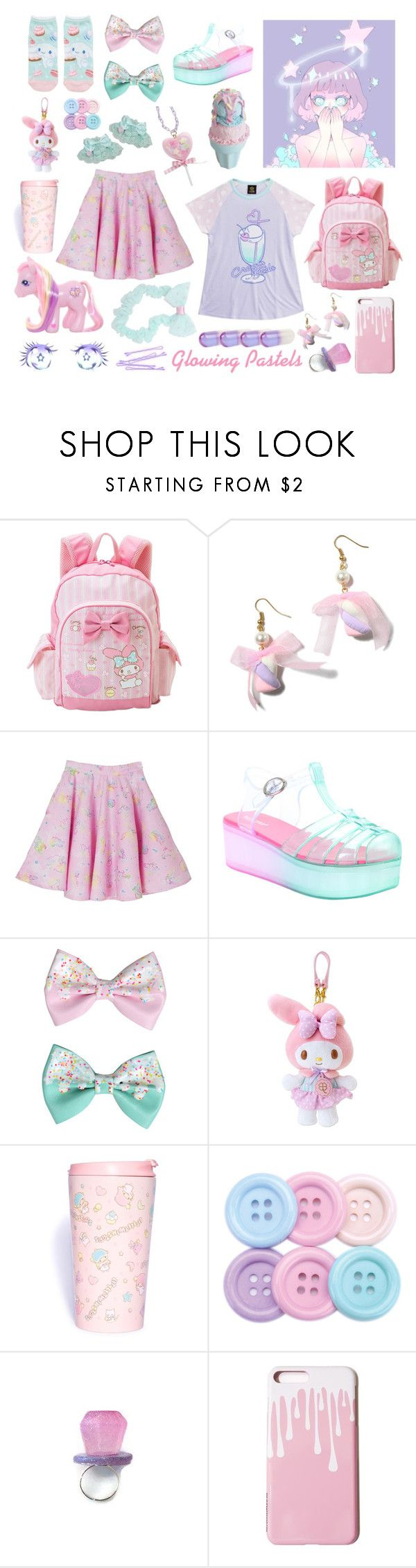 """Glowing Pastels"" by melodyfire ❤ liked on Polyvore featuring My Little Pony, Hot Topic, Pink Mint, SANRIO and Jonathan Adler"