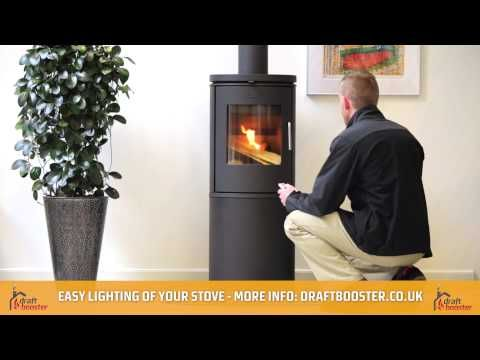 http://draftbooster.co.uk/   This video demonstrates how easy and hassle-free it is to light your stove with a Draftbooster chimney fan