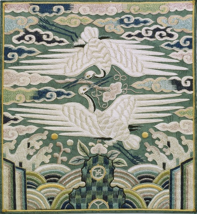 Rank badge. Silk embroidered. Korea, 1800-80.