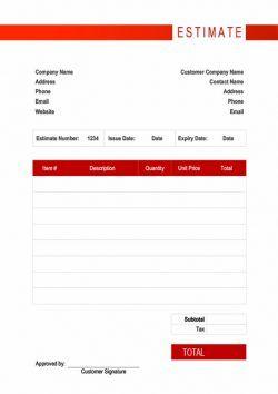 free simple estimate template word estimate estimatetemplate