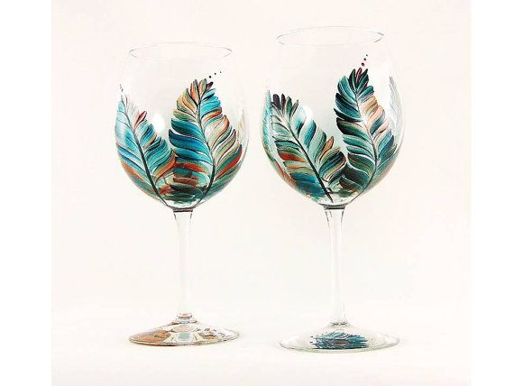 Personalized Hand Painted Bridesmaids Wine Glasses - Southwestern Feathers Turquoise Copper Silver Set of 8 - Wine Glass Bachelorette Gift