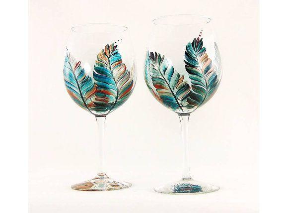 Hand Painted Wine Glasses  Turquoise and par HandPaintedPetals