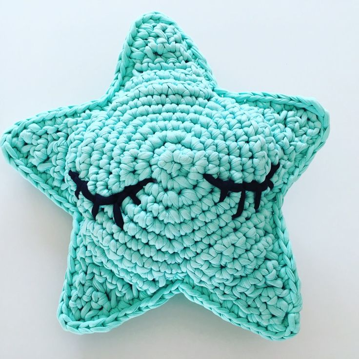 Mint kids crochet sleepy star cushion/star pillow/kids decor/nursery decor handmade with recycled trapart tshirt/t-shirt yarn by waffleandweave on Etsy