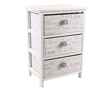 Cassettiera a 3 cassetti in legno e tessuto ecru' - 43x61x32 cm