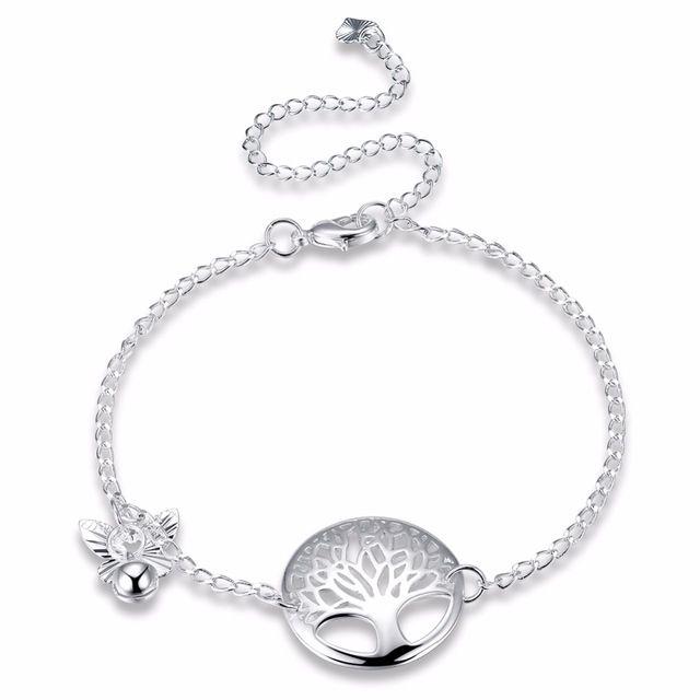 Древо жизни Дизайн Шарм ножные браслеты серебро 925 Бабочка Очаровательная ювелирный браслет цепи Рождественский подарок