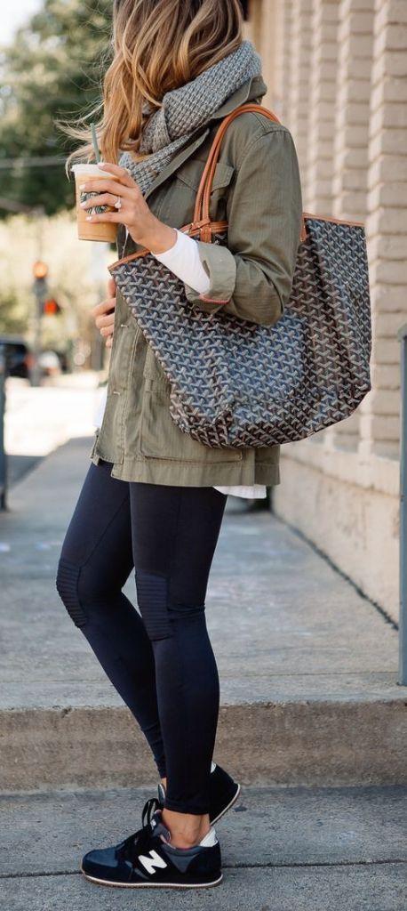 Olive Khaki Jacket, Black Legging, Black Sneakers, Scarf, Tote Bag  #fall #fashion