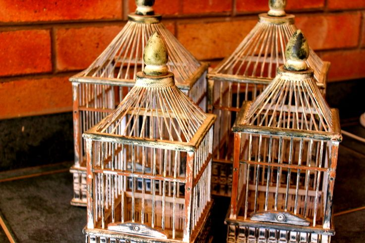 Set of 4 wooden bird cages