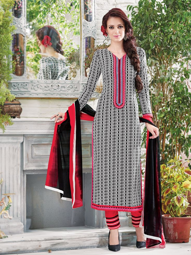Printed black cotton unstitch Punjabi salwar suit | G3-WSS7749