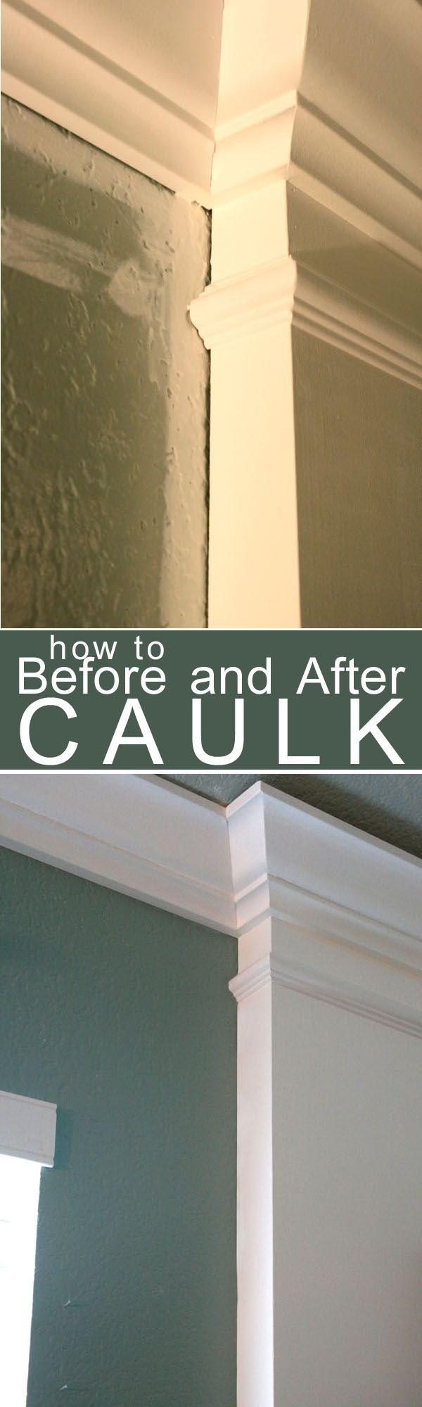 How to Caulk Moldings! #caulk #moldings #DIY - the tip about painting over the caulk is right on.  Our non-painted caulk in our bathrooms attracts dirt & hair.  Will have to fix that when we repaint our bathrooms soon.