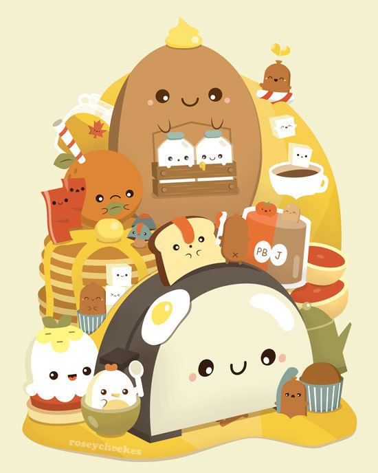 Big Breakfast Print by roseycheekes on Etsy, $12.00  Super duper cute. And notice the maple syrup in there!