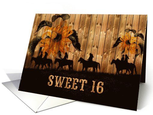 Sunflowers give us the feeling of being bigger than life itself. These cowgirl and cowboys are riding horses in soft earthy tones and a barn wood background making this a great card for the cowgirl who is turning 16! An original design by Doreen Erhardt©2013 and the Salon of Art.