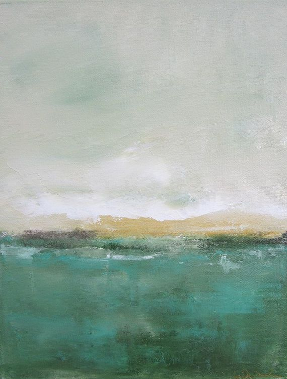 Abstract Landscape Painting Orignal Art - Green Yellow Seascape 11 x 14