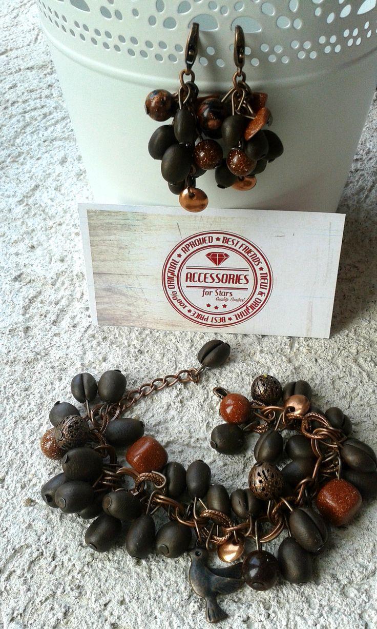 http://accessoriesforstars.blogspot.ro/2015/04/set-smell-of-coffee.html #coffee #polymer #accessoriesforstars #bracelets #earrings #sets #jewelry #jewellery #bronze #brown #pendants #antique #unique