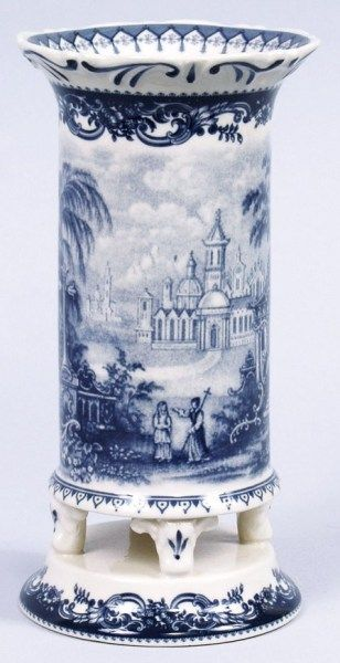 Blue Castle Toile Porcelain Vase 8 inches high / Cyress Home Decor