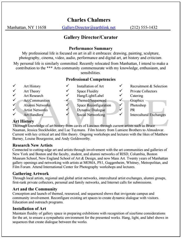 Gallery Director Resume Sample
